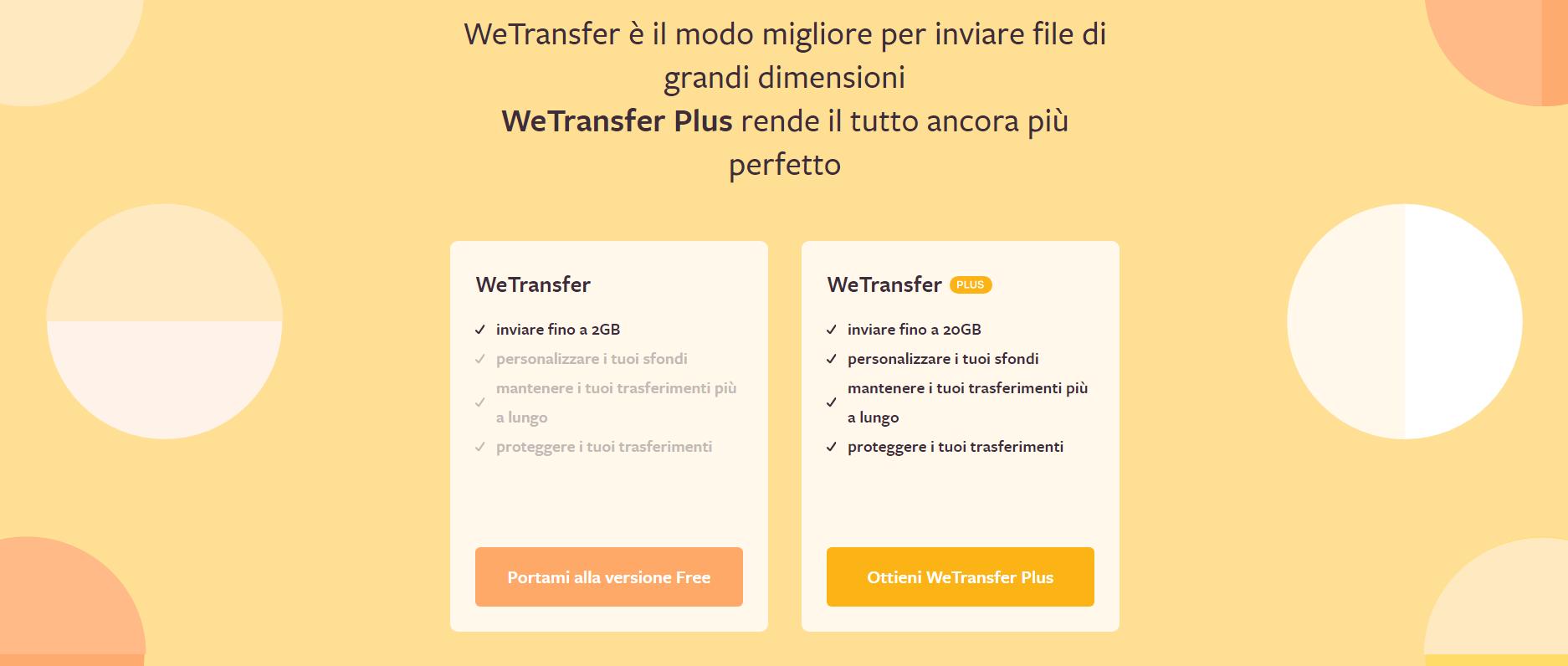 wetransfer per inviare file molto grandi email